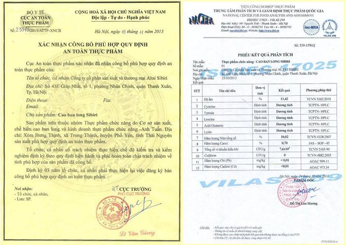 giấy chứng nhận cao ban long