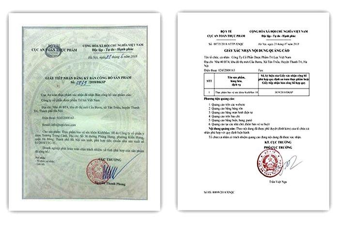 giấy chứng nhận chứng nhận chất lượng sản phẩm Kichmen 1H
